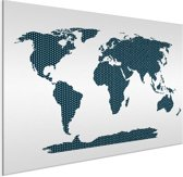 Wereldkaart Blauw kruisjes en plusjes aluminium 60x40 cm | Wereldkaart Wanddecoratie Aluminium