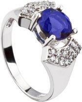 Brigada - ring met saffierblauwe ronde zirkonia steen - 925 sterling zilver - maat 18