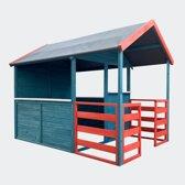 Kinderspeelhuis XL met woongedeelte & veranda in rood / blauw 146x195x156cm