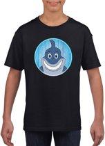 Kinder t-shirt zwart met vrolijke haai print - haaien shirt M (134-140)