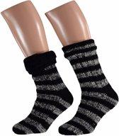 Heren huissokken met streep zwart - antislip sokken/ slofsokken