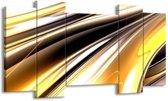 Canvas schilderij Abstract | Geel, Zilver, Zwart | 120x65 5Luik
