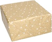 Kerst inpakpapier goud met witte sterren - cadeaupapier / kadopapier