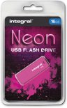 Integral 16GB Neon USB Flash Drive Pink