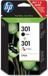 HP 301 - Inktcartridges / Zwart / Kleur / 2-Pack (N9J72AE)