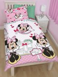 Disney Minnie Mouse Cafe this Way - Dekbedovertrek - Eenpersoons - 140x200 cm - Roze