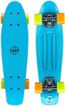 Nijdam Plastic Flipgrip-board - Skateboard - 22.5 inch - Blauw/Fluororanje/Fluorgeel