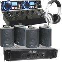 """19"""" Complete Horeca geluidsinstallatie met USB/SD MP3-speler, luidsprekers, versterker en mixer"""