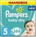 Pampers Baby-Dry - Maat 5 (Junior) 11-23 kg - Maandbox 144 Stuks - Luiers