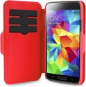 PURO Samsung Galaxy S5 Eco Leather Wallet Case Bi-Color + 3 Cardslot - Zwart/Rood