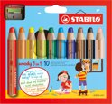 STABILO Woody 3 in 1 Kleurpotloden - Etui 10 Stuks + Puntenslijper