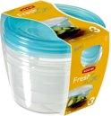Curver Set Fresh&Go Vierkant - 3x0,5l - Transparant /Translucent Precious Blauw