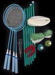 Badminton / volleybal set - 4 raketten + 2 bats - 1 volleybal - badminton net 600 x 60 cm
