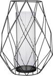 Bloomingville - Windlicht Graphic - Metaal/Glas - Zwart - Ø14,5/24,5xH34 cm