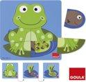 Goula Houten Puzzel - Educatieve Puzzel - Kikker - 3 Niveaus