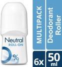 Neutral 0% Parfumvrij - 50 ml - Deodorant Roller - 6 stuks - Voordeelverpakking