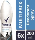 Rexona Invisible Aqua Women - 6 x 200 ml - Deodorant Spray - Voordeelverpakking