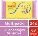 Zwitsal Billendoekjes Sensitive - 24 x 63 stuks - Baby - Voordeelverpakking