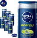 NIVEA MEN Energy - 6 x 250 ml - Voordeelverpakking - Douchegel