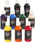 A-color acrylverf -  Assortiment, kleuren assorti, 01 - glossy, 10x100 ml