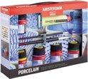 Deco Porcelain set 5 kleuren 16 ml flacons met penselen en contourpaint (porseleinverf)