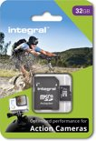 Integral MicroSDHC Geheugenkaart voor Action Cam 32GB  + SD Adapter Set