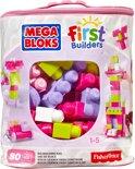 Mega Bloks First Builders 80 Maxi Blokken met tas - Roze - Constructiespeelgoed