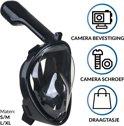 Gadgy Duikmasker L/XL - Full face duikbril met snorkel - snorkelset zwart - snorkelmasker