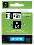 Dymo 43613 - Tape Type D1 / 6mm X 7m / Zwart / Wit