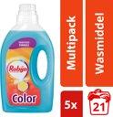 Robijn Color Vloeibaar - 105 Wasbeurten - 5 x 1,41 l - Wasmiddel - Kwartaalbox
