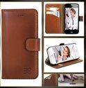 Echt Leer cover - iPhone 5 & 5S hoesje - Lederen Wallet Case Zwart - WalletCase (Sacco Black)