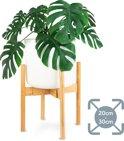 LifeGoods Bamboe Uitschuifbare Plant Houder - Krukje en Tafel voor Bloem Potten van 20 cm tot 30 cm - Bamboo - Hout
