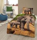Kinderdekbedovertrek met olifanten - 4809-P (140x200/220 cm + 1 sloop)
