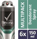 Rexona Sensitive Men - 6 x 150 ml - Deodorant Spray - Voordeelverpakking