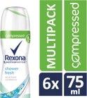 Rexona Fresh Shower Fresh Women - 75 ml - Deodorant Spray - 6 stuks - Voordeelverpakking