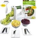 Spiraalsnijder / Groentesnijder - Bonus: 10 Recepten en Dunschiller - incl. Gebruiksaanwijzing (groente spiraal en julienne snijder snijmachine spiralizer)