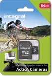 Integral MicroSDHC Geheugenkaart voor Action Cam 64GB  + SD Adapter Set