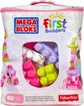 Mega Bloks First Builders 60 Maxi blokken met tas - Roze - Constructiespeelgoed