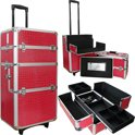 Aluminium visagie, nagel, make-up, cosmetica trolley 3 in 1 CROCO ROZE
