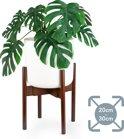 LifeGoods Bamboe Uitschuifbare Plant Houder - Krukje en Tafel voor Bloem Potten van 20 cm tot 30 cm - Bamboo - Donker Walnoot