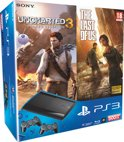 Sony PlayStation 3 Console 500GB Super Slim + 2 Wireless Dualshock 3 Controllers + The Last Of Us + Uncharted 3: Drake's Deception - Zwart PS3 Bundel
