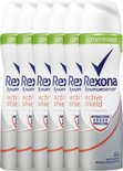 Rexona Women Active Shield - 6 x 75 ml - Deodorant Spray - Voordeelverpakking