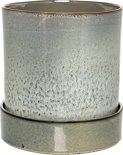 Bloomingville - Bloempot met schotel - Handmade Stoneware - Groen/Blauw/Bruin