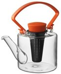 Qdo Theepot Glas - Cylinder - Met Clip Handvat - 1 liter - Oranje