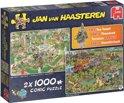 Jan van Haasteren 2in1 Puzzel BBQ Feest en Food Truck Festival 2 x 1000 Stukjes