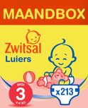 Zwitsal Luiers - Maat 3 (Midi) 4-9 kg - 213 stuks - Maandbox