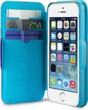 Puro iPhone 5/5S Eco Leather Wallet Case BiColor + 3 Cardslot Blue/LBlue