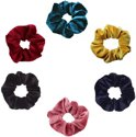 scrunchieshop.com - Set van 6 scrunchies - Groen/Geel/Navy Blauw/Roze/Zwart/Rood
