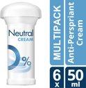 Neutral 0% Parfumvrij - 50 ml - Deodorant Stick - 6 stuks - Voordeelverpakking