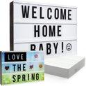 Gadgy Lightbox A4 Compleet met: 4 achtergronden + 85 zwarte letters/symbolen + 40 gekleurde emojis + 6 woorden + USB kabel – 30 x 22 x 6 cm